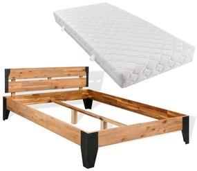 vidaXL Posteľ s matracom, masívne akáciové drevo a oceľ, 140x200cm