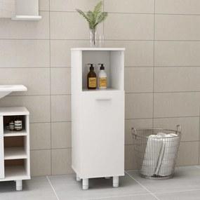 vidaXL Skrinka do kúpeľne, lesklá biela 30x30x95 cm, drevotrieska