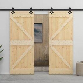 vidaXL Posuvné dvere s kovaním 90x210 cm, borovicový masív
