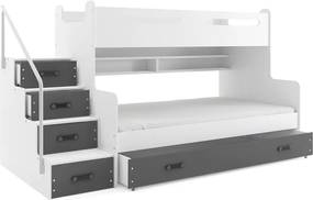 Poschodová posteľ MAX 3 - 200x120cm - Biela - Grafitová
