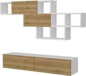 Set bieleho TV stolíka a nástennej police s detailmi v dekore orechového dreva Garetto Aristo