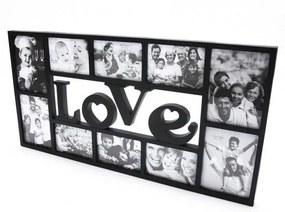 Fotorámeček 72x36 cm LOVE - 10 fotografií Čierna