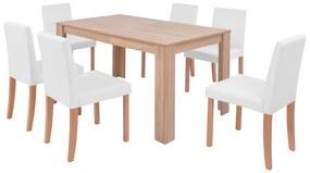 Jedálenský stôl a stoličky, 7 ks, umelá koža a dubové drevo, krémové