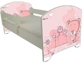 MAXMAX Detská posteľ RUŽOVÝ MACKO 140x70 cm + matrac ZADARMO!
