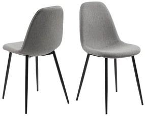 Dizajnová jedálenská stolička Alphonsus II, svetlosivá / čierna