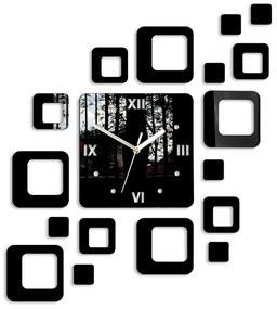 Mazur 3D nalepovací hodiny Roman Quadrat černé