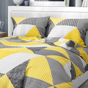 Goldea flanelové posteľné obliečky - vzor 806 kombinácia žltosivého vzorovania 140 x 220 a 70 x 90 cm