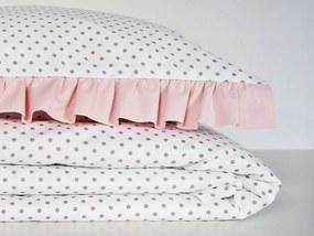 Bavlnená posteľná bielizeň s volánikom, biela s púdorovo ružovým volánikom - Rozmer 140x200/70x80