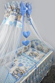4-dielne Sovičky modré, obliečky do postieľky, Ankras - Rozmer 120x90x360