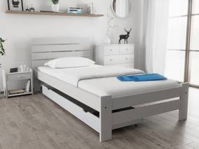 Maxi Drew Posteľ PARIS zvýšená 90x200 cm, biela Rošt: s latkovým roštom, Matrac: s matracom Economy 10 cm