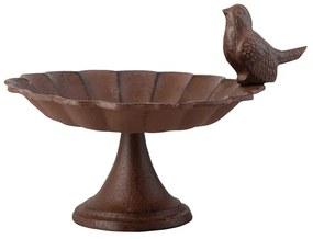 Liatinové kŕmidlo s vtáčikom na nízkej podnožke Esschert Design Birdy