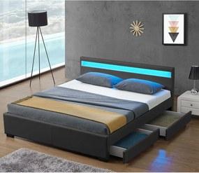 Čalúnená posteľ Lyon 180 x 200 cm - tmavošedá