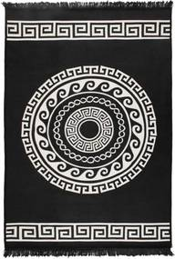 Béžovo-čierny obojstranný koberec Mandala, 120 × 180 cm