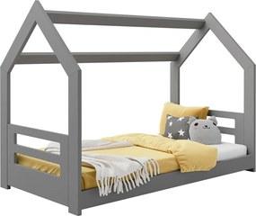 AMI nábytok Detská posteľ DOMČEK D2B 80x160cm masív sivá