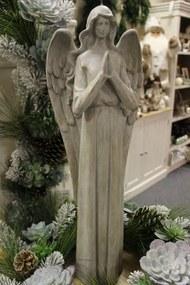 Sivá keramická soška veľkého anjela 58cm