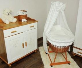 Prútený kôš pre bábätko s čipkovanou sadou obliečok Prútený kôš pre bábätko s čipkovou sadou obliečky
