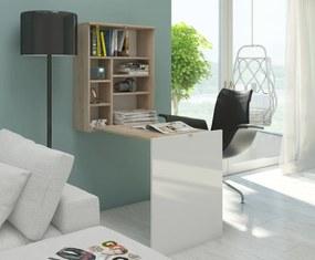 MEBLOCROSS Hide rozkladací písací stolík s regálom sonoma svetlá / biela