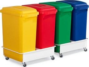 Zostava: 4x kôš na triedený odpad 60 L, rôzne farby + 2 vozíky