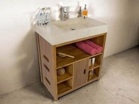 Kamenné umývadlo z mramoru so skrinkou z teakového dreva