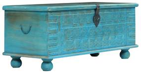 vidaXL Úložná truhlica masívne mangovníkové drevo modrá 100x40x41 cm