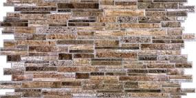 Obkladové 3D PVC panely 54638, rozmer 980 x 489 mm, hrúbka 0,4 mm, ukládaný kameň hnedý, REGUL