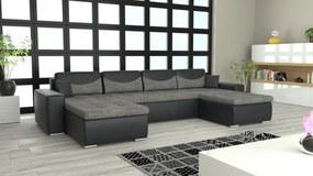 Moderná sedacia súprava v tvare U York, čierna