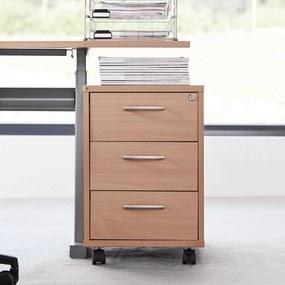 Kancelársky kontajner Flexus, 3 zásuvky, 550x400x600 mm, buk