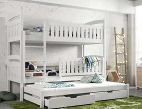 MAXMAX Detská poschodová posteľ z masívu borovice BOHDANA s prístelkou a šuplíky - 200x90 cm - BIELA