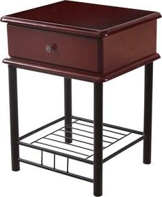 TEMPO KONDELA Celesta 2 New rustikálny nočný stolík so zásuvkou tmavý dub / čierna