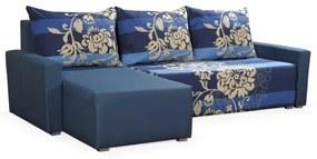 Rohová sedacia súprava s opierkami a vzormi KRISTIAN BIS, modrá