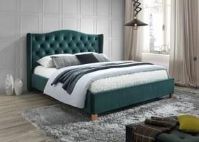 SIGNAL Aspen Velvet 160 čalúnená manželská posteľ s roštom zelená