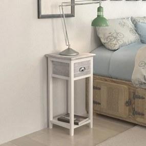 vidaXL Nočný stolík s 1 zásuvkou, sivý a biely