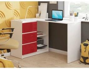 Počítačový stôl B16 lesklý l ľavý červený