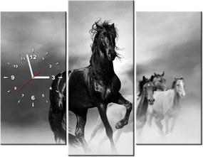 Tlačený obraz s hodinami Pozorný čierny kôň 90x70cm ZP2501A_3C