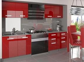 Kuchynská linka Katnis červená vysoký lesk 160 cm Úchytka R