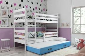 Poschodová posteľ s prístelkou - ERIK 3 - 190x80cm Biely - Modrý