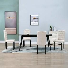 vidaXL Jedálenské stoličky 4 ks, krémové, látka