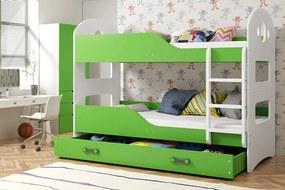 Poschodová posteľ DOMINIK - 190x80cm Biely - Zelený