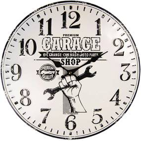 Nástenné retro hodiny Garage - Ø 40 cm / 1 * AA