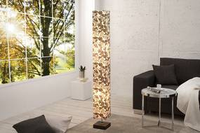 Bighome - Stojaca lampa PARIS FLORAL 125 cm - čiernobiela