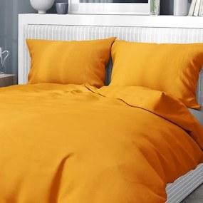 Goldea bavlnené posteľné obliečky - horčicové 140 x 200 a 70 x 90 cm