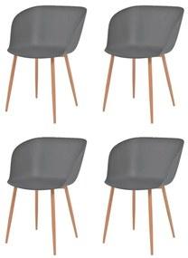 Jedálenské stoličky 4 ks, sivé, plastové sedadlo, oceľové nohy