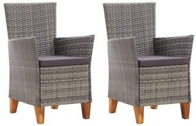 vidaXL Záhradné stoličky 2 ks s podložkami sivé polyratanové
