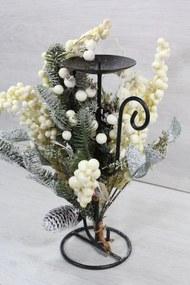 Kovový svietnik s dekoráciou (v. 30,5 cm) - vianočný