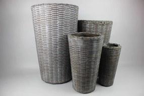 Sivé plastové ratanové kvetináče 4-set