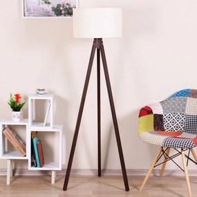 Hnedá voľne stojacia lampa s béžovým tienidlom Kate Louise Celina