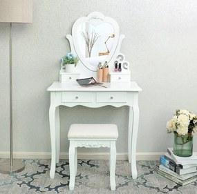 Toaletný stolík Romantic + DARČEK LED make up zrkadlo