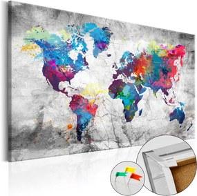 Bimago Obraz na korku - World Map: Grey Style [Cork Map] 90x60 cm