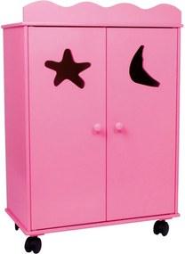 Ružová drevená skriňa pre bábiky Legler Dolls