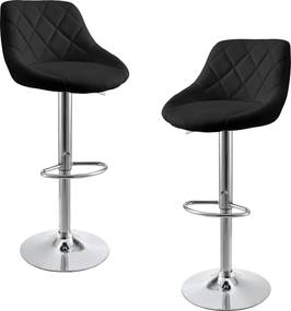 [en.casa]® Sada barových stoličiek HTBS-3707 - 2 ks - čierne